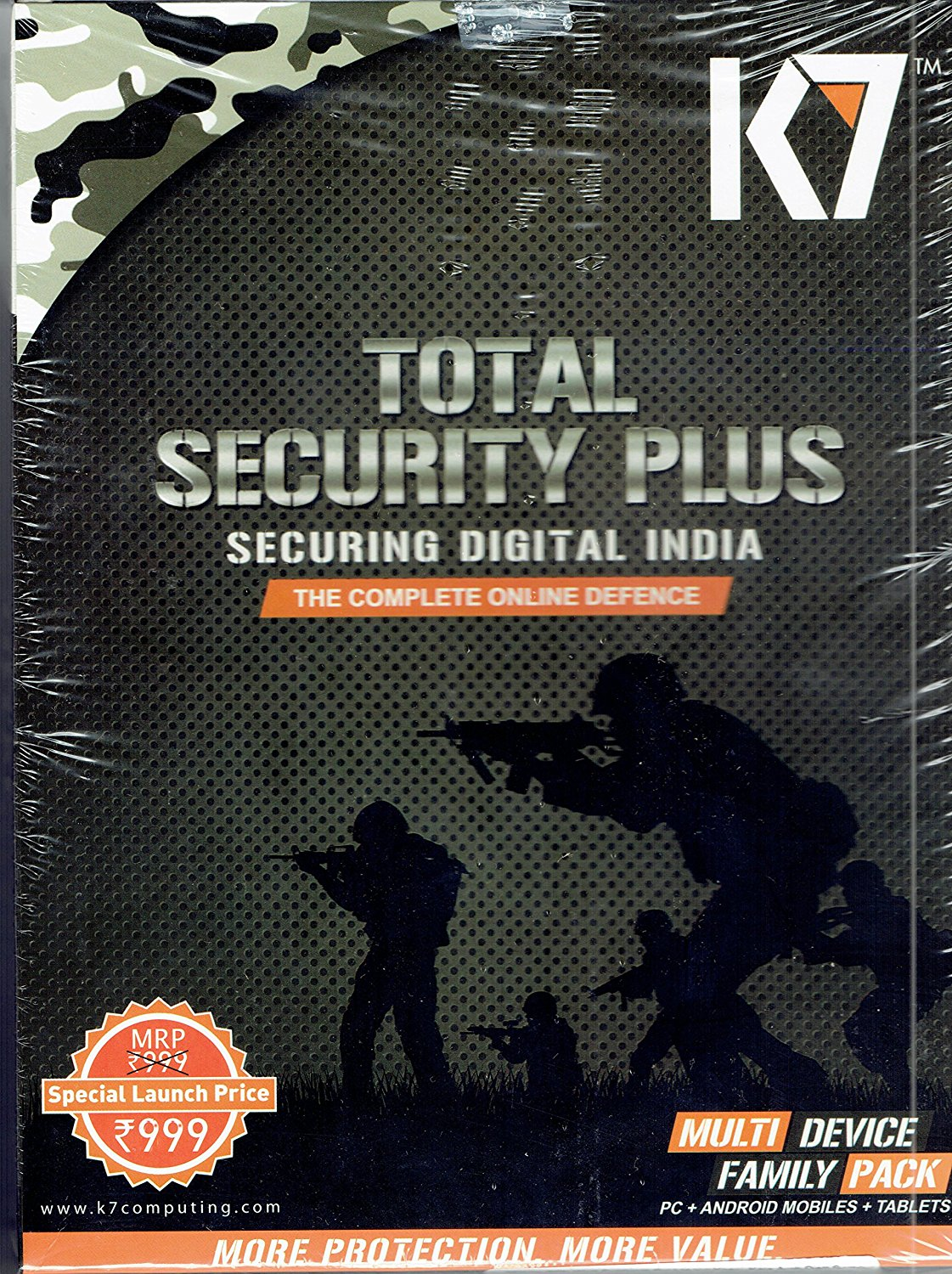 K7 Total Security Plus Family Pack Multi Device PC+Android Mobile+Tablets 1 Year Full Virus Protection.