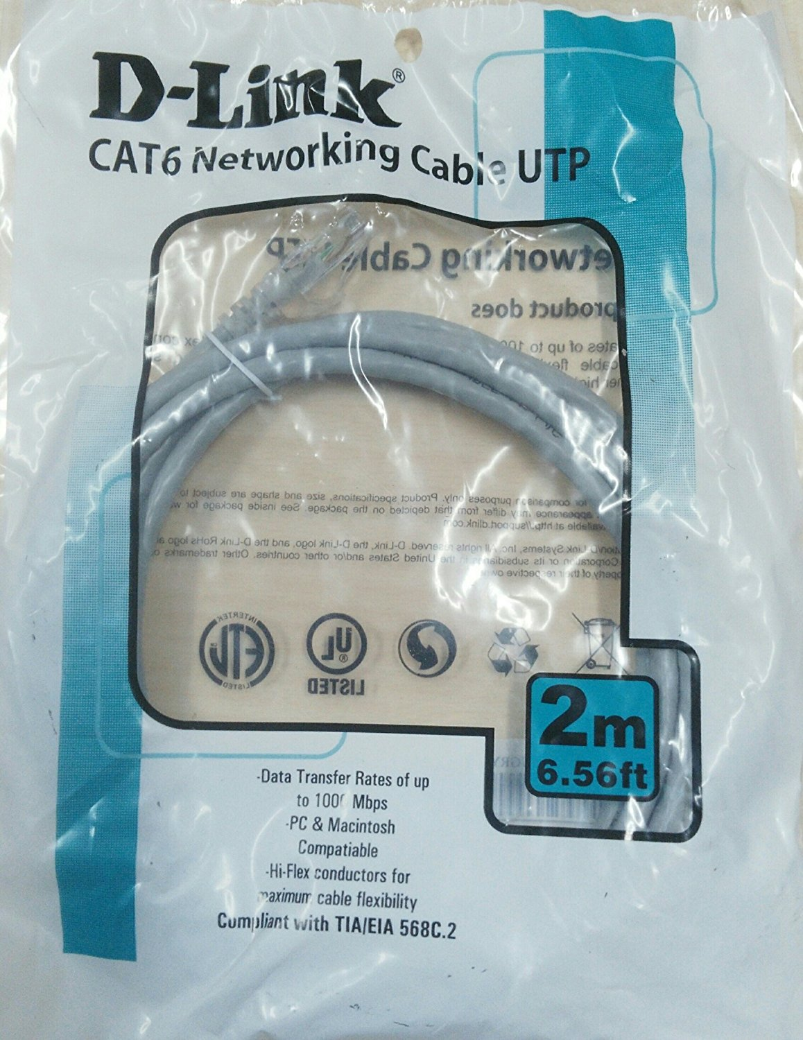 Patch cord cat 6 2 mtr