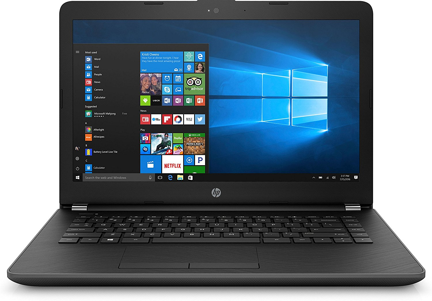 HP 15-BS614TU 15.6-inch Laptop (Celeron N3060/4GB/1TB SATA HDD 5400 RPM/Free DOS /Integrated Graphics), Jet Black