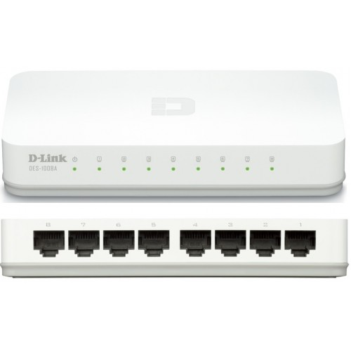 D-LINK DES-1008C 8-Port 10/100 Desktop Switch (White)